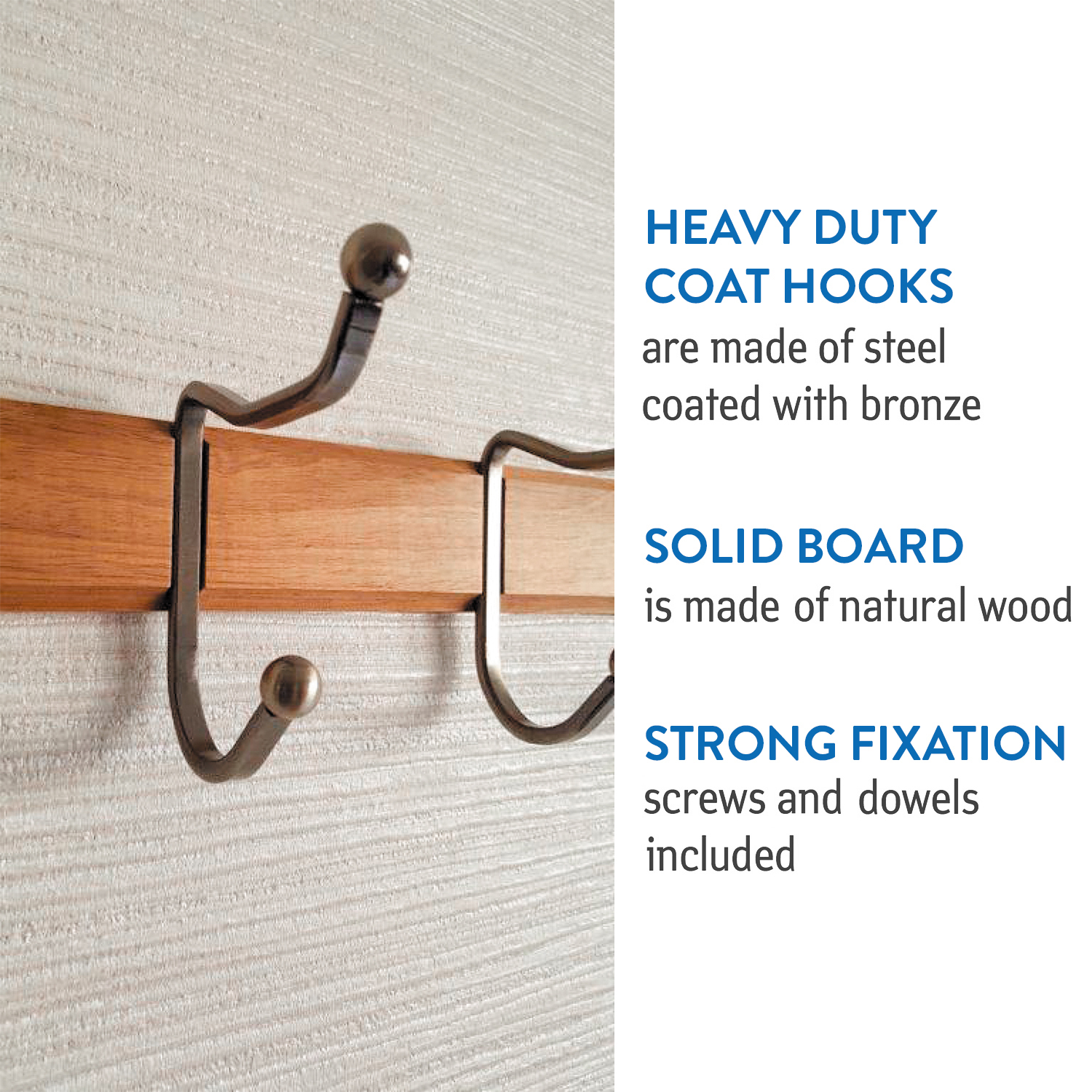 Tatkraft Charm Heavy Duty Double Coat Hooks Wall Coat Rack Natural