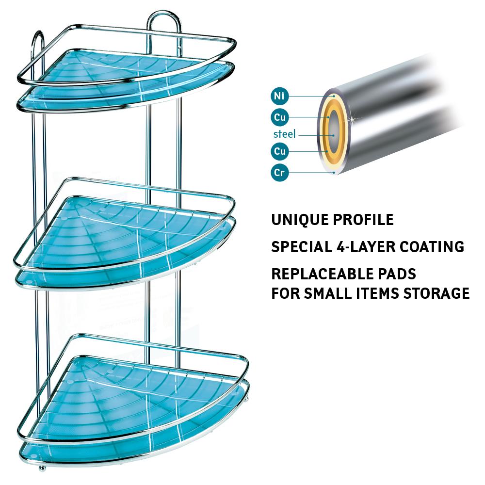 Tatkraft Kaiser Large Capacity Triple Corner Bathroom Shower Shelf ...