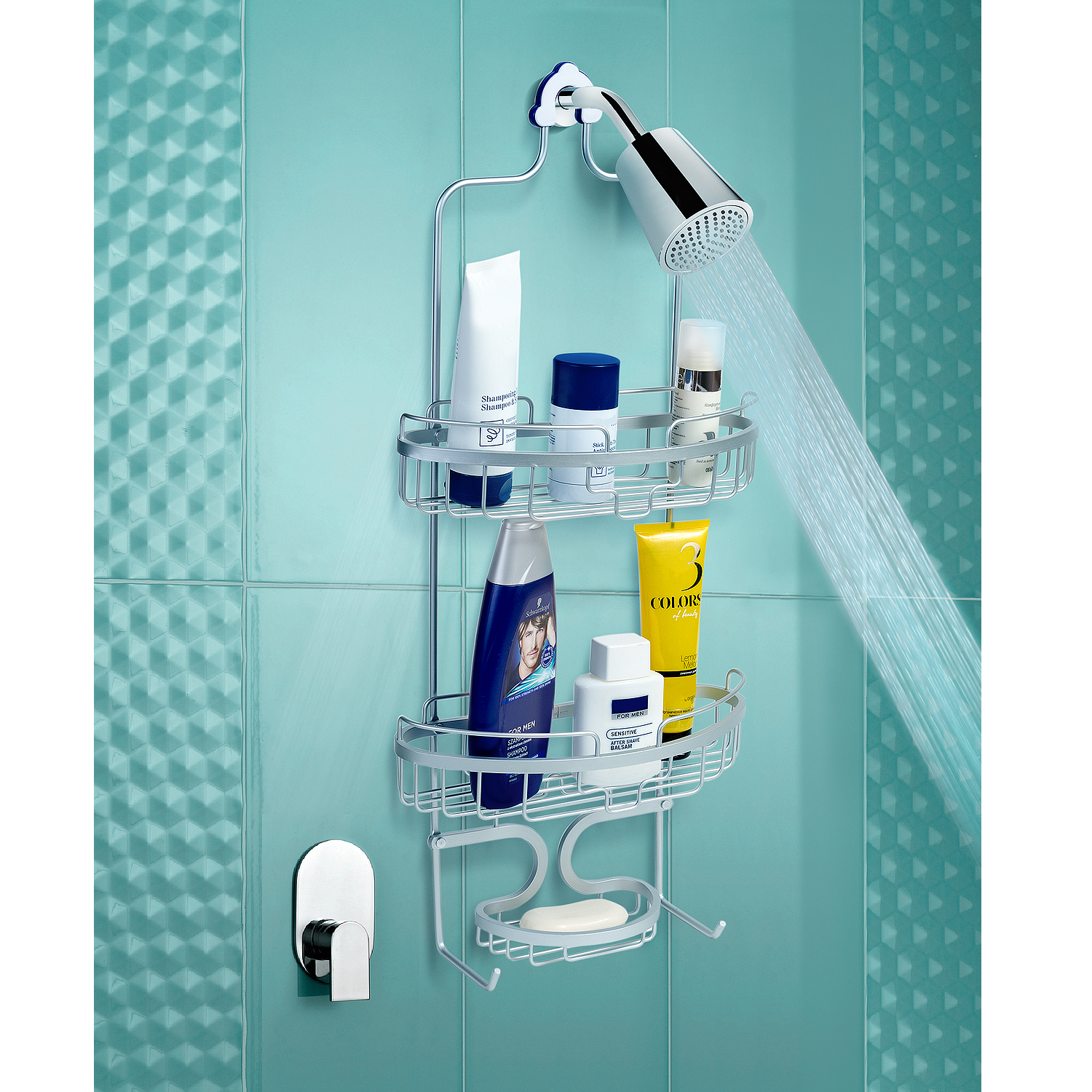 Tatkraft Elva Aluminum Bathroom and Shower Hanging Caddy, 2 Spacious ...