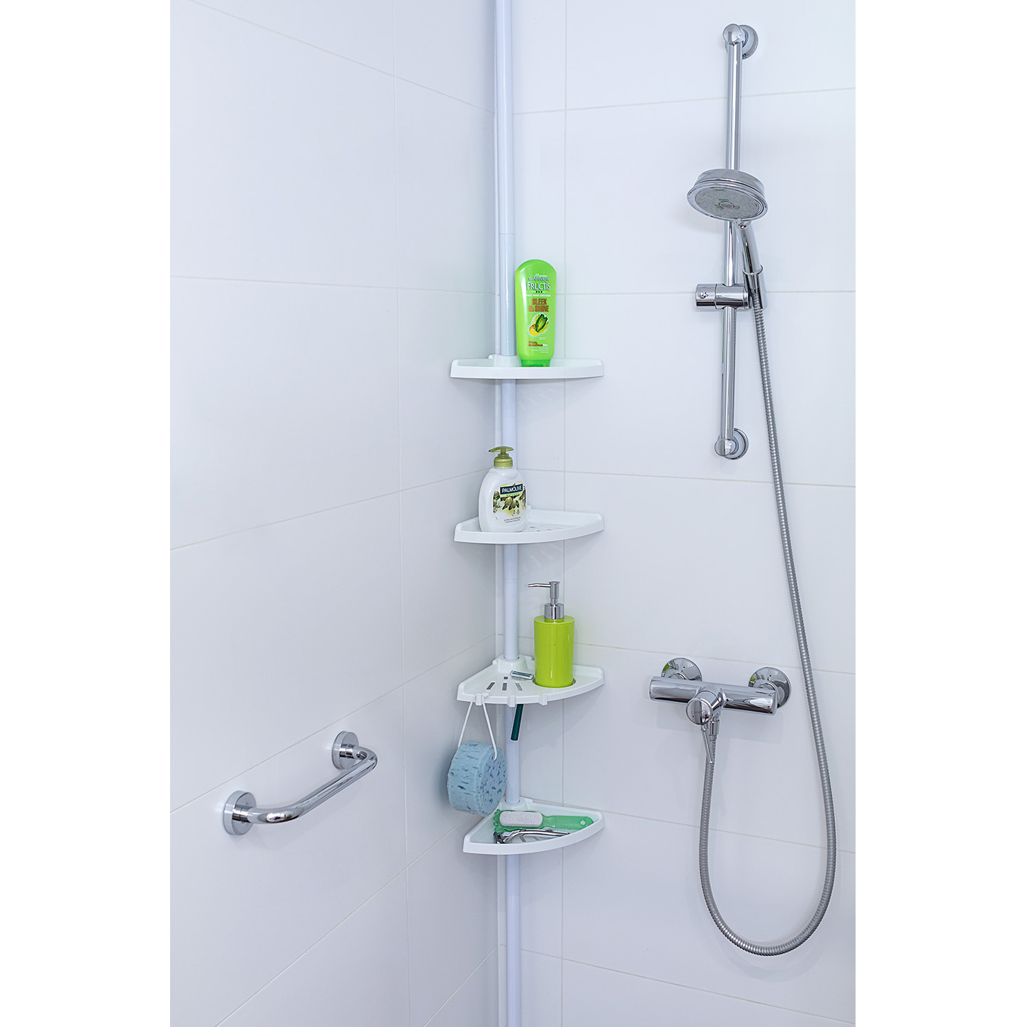 Tatkraft Mate Telescopic Corner Bathroom Shelves 26.5X17X110-255H cm ...