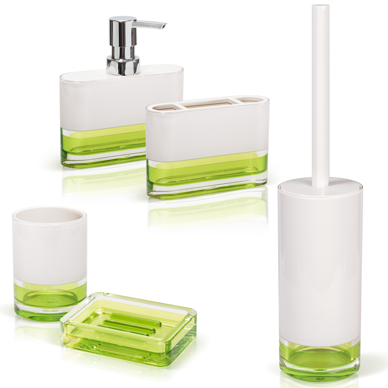 Tatkraft Topaz Green Bathroom Accessories Set of 5: Soap Dish, Bath Tumbler, Soap Dispenser, Toothbrush Holder, Toilet Brush Set - Tatkraft