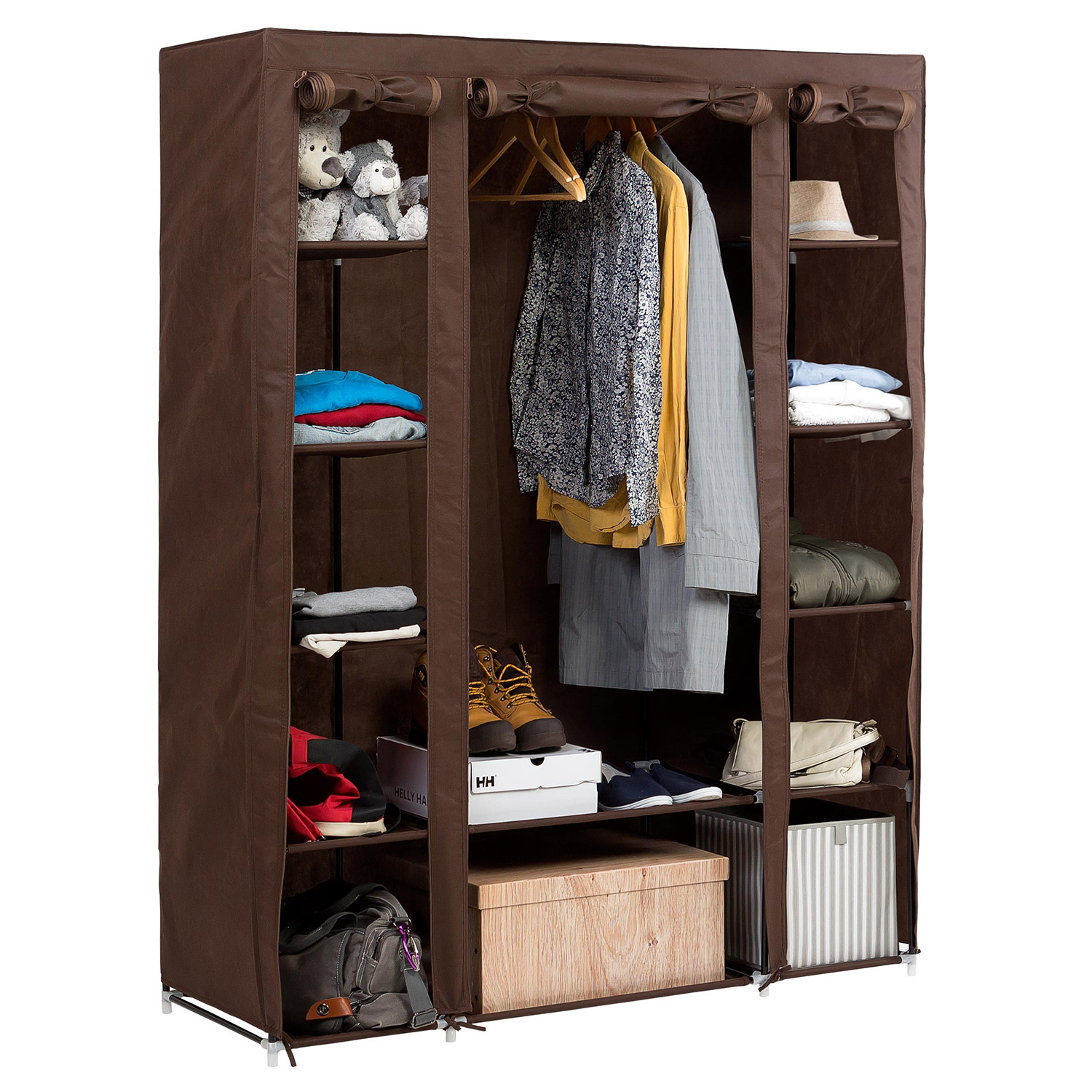 Art Moon Montana Foldable Wardrobe Bedroom Furniture Hanging Clothes Rail 12 Shelves And Shoe Shelf L135xh175xd45 Cm Tatkraft