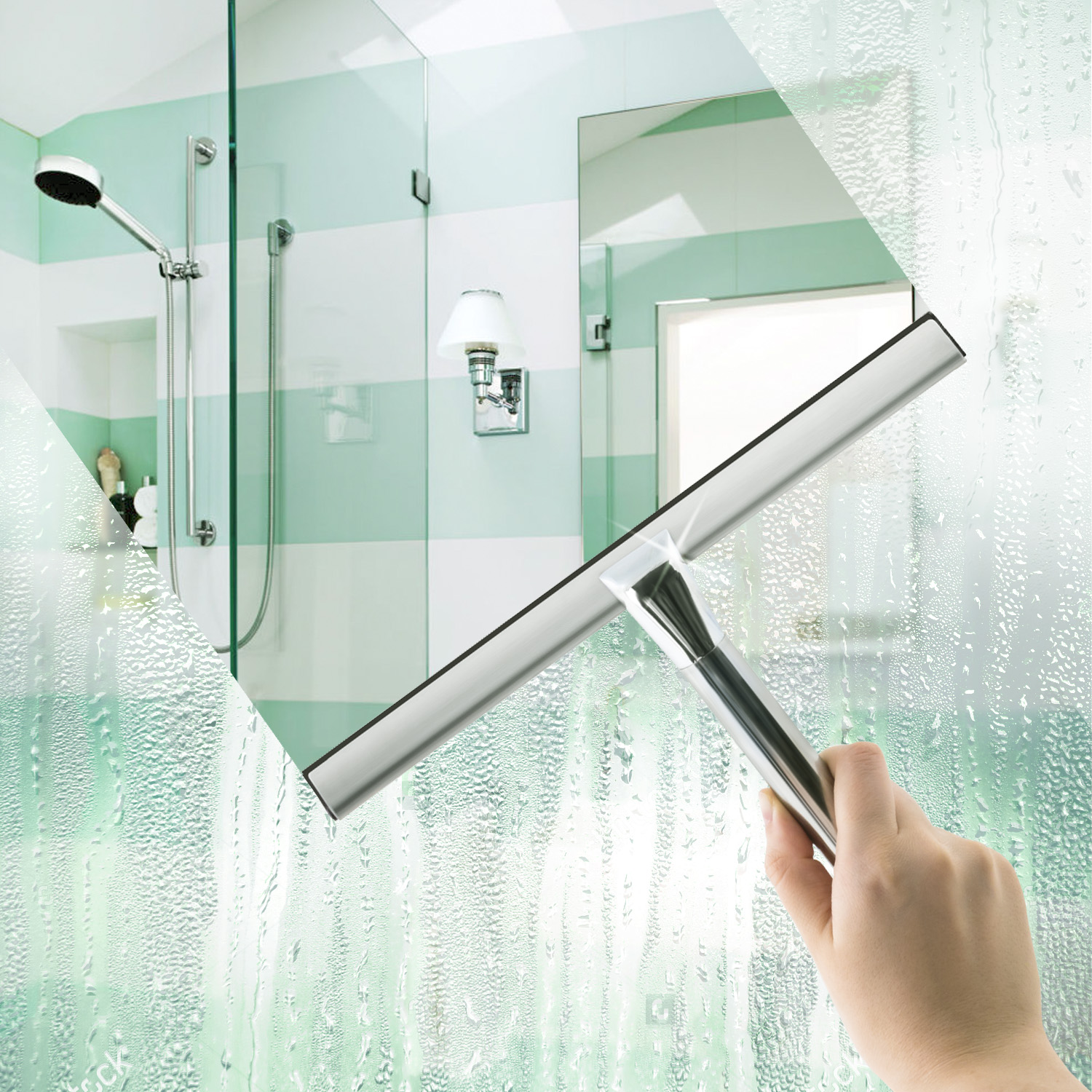 Art Moon Clean Shower Mirror Window Gl Squeegee Good Grip Stainless Steel With Suction Cup Hook Tatkraft