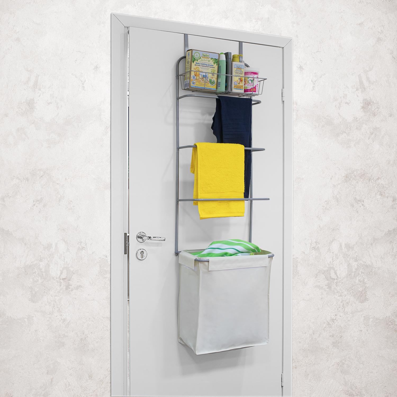 Home Bathroom Laundry Baskets Tatkraft Solver Over Door Rack E Saver With Shelf Hamper And 3 Towel Rails L42xh149xd28 5 Cm
