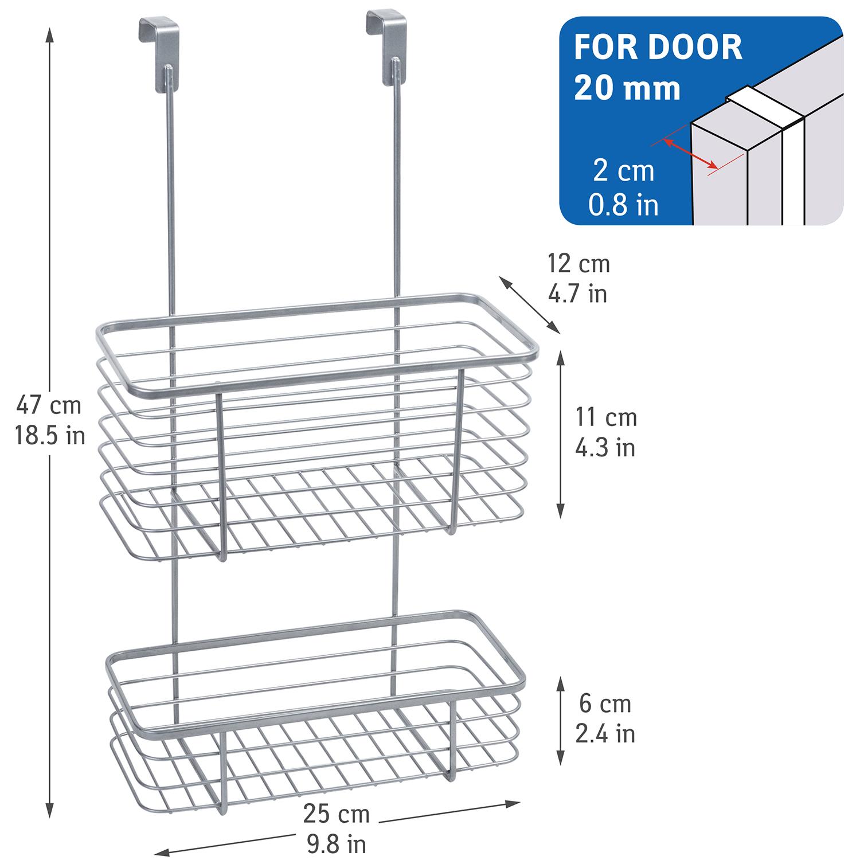 Tatkraft On Over Cabinet Door 2 Tier Basket Kitchen And Bathroom