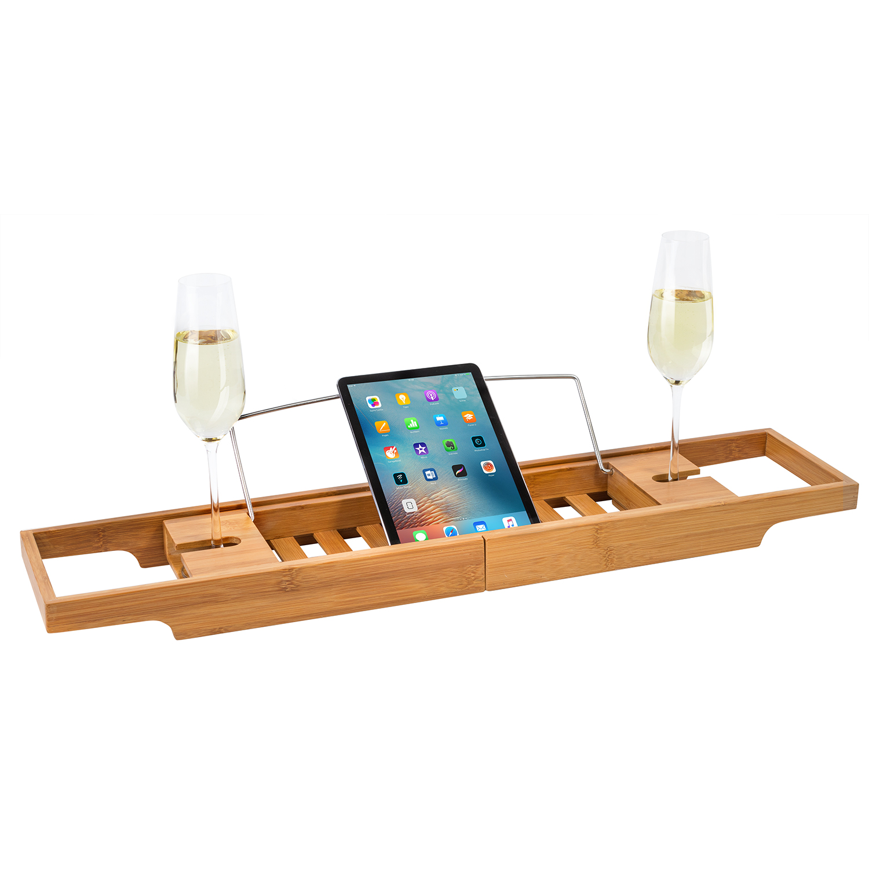 Tatkraft Leisure Extendable Bamboo Bath Rack, Ipad Book Wine Glass ...