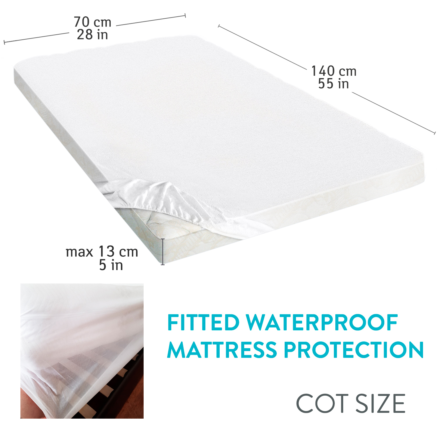 Tatkraft Lad Waterproof Fitted Mattress Protector For Cot