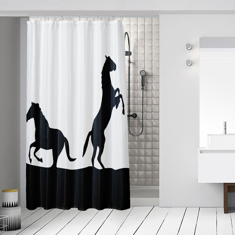Tatkraft Horses Textile Shower Curtain Waterproof Polyester
