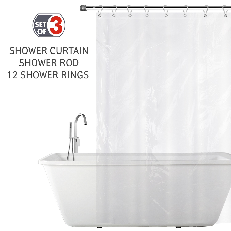 Tatkraft Bathroom Set Of Shower Curtain Rail Stainless Steel