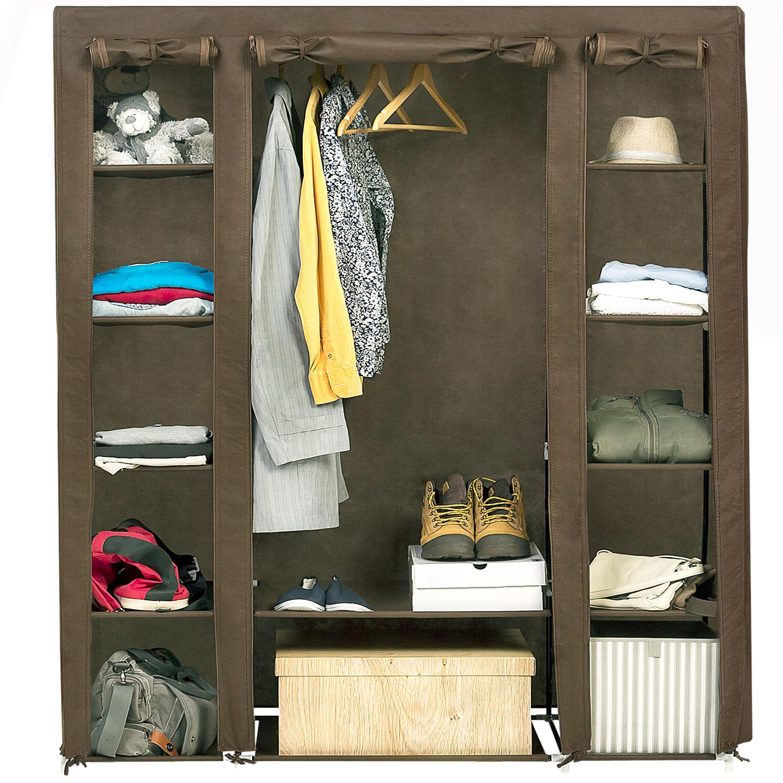 Art Moon Montana Foldable Wardrobe Bedroom Furniture Hanging Clothes Rail 12 Shelves And Shoe Shelf L135xh175xd45 Cm Tatkraft